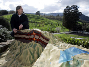 Mike Benziger looks out at his biodynamic vineyard. Learn more about vino with these wine pictures.