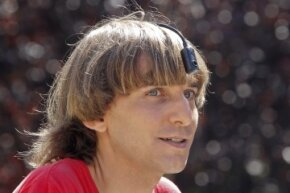 British cyborg and artist Neil Harbisson poses in Spain on Sept. 9, 2011. Harbisson has an eyeborg (see sidebar).