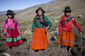 Natives of the Andes, like this trio, may have up to 30 percent more red blood cells than those of us living at sea level.