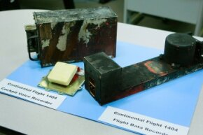 The flight recorders from Continental Airlines flight 1404, which slid off the runway during takeoff in Denver, Colo. In 2008.