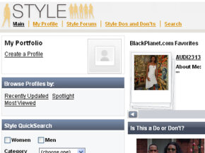 A screenshot of the Style section of BlackPlanet.com.
