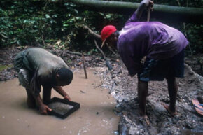 Miners search for diamonds near Kisangani, Democratic Republic of the Congo.