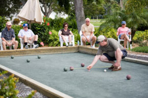 Getting a bocce ball the closest distance to the pallino ball without touching it is the goal of the game.