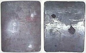 The front (left) and back (right) of a hard-armor steel plate. The plate has been shot with several different rifle rounds, all of which were deflected. The highest caliber round created a slight dent in the back of the plate, but none of the shots would have caused significant blunt trauma.