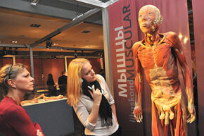 """Visitors view a full body human specimen during a """"Body Worlds"""" exhibition, which features real human bodies and organs donated to medical science and preserved using """"plastination."""""""