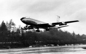 Some 20 years after its introduction, the Boeing 707 had become a long-range convertible transport that could carry passengers and significant cargo in single runs. The U.S. Air Force utilizes 707 variants as VIP transports. See more classic airplane pictures.