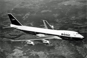 7th April 1971: One of the first Boeing 747 aircraft used by BOAC airlines for the London to New York service. See more classic airplane pictures.