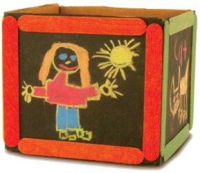 The chalk box craft acts just like a chalkboard, so it's fun for kids over and over!