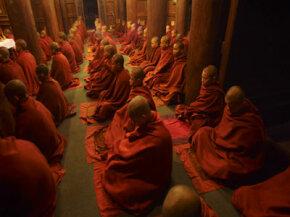Meditating monks