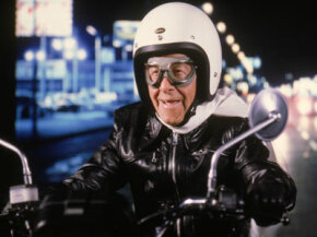 "Not that kind of God Helmet. George Burns in the film ""Oh, God! Book II"""