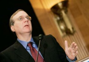 Microsoft co-founder Paul G. Allen touts the completion of the Allen Brain Atlas on Capitol Hill in September 2006. The project studies the expression of genes in mouse brains.