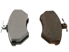 Metallic brake pads are perhaps the most common brake pads found on cars today. The brake pad on the left is new; the pad on the right is used.