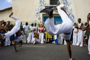 A capoeira demonstration on the streets of Salvador de Bahia, Brazil.