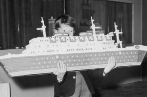 Lego bricks have always brought about ambitious play. This ship was part of a London, England department store display in 1962.