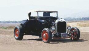 The Bud Bryan '29 Roadster was built using Deuce frame rails and Model A crossmembers. See more hot rod pictures.