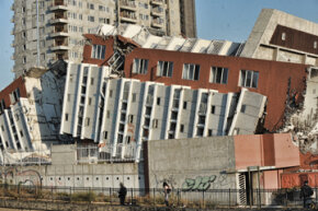 Photo of a building destroyed in the Chile earthquake of 2010. Is there a way to make buildings earthquake-proof? See more earthquake pictures.