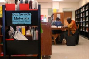 People use a career center at the Brooklyn Public Library to look for job opportunities or career education courses in New York City. See more college pictures.