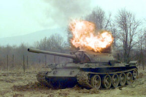 A U.S. Army unit detonated C-4 explosives inside this Serbian battle tank during Operation Joint Guard.