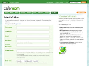 Setting up a CaféMom account requires a little personal information. See more pictures of popular web sites.