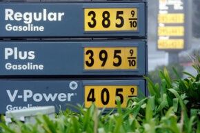 High gas prices are posted at a Shell gas station in Menlo Park, Calif., in 2008.