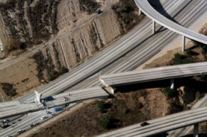 You can see the highway damage in Northridge, California, after the 1994 earthquake.