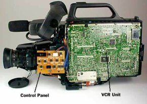 Camcorder with the outer shell removed
