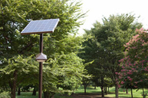 As this image shows, even powering something as simple as a park light can require a large solar panel to gather the necessary energy.