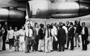 The 16 rescued survivors of the Andean plane crash. The people shown resorted to cannibalism to stay alive for 70 days.
