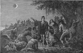 Columbus toys with Carib Indians by predicting a lunar eclipse.