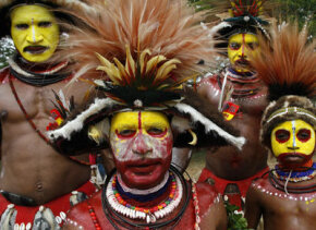 Huli tribesmen decked out in traditional garb in Papua New Guinea in August 2007.