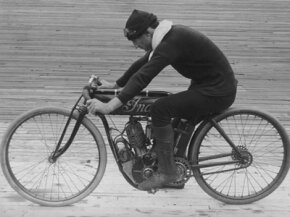 "Erwin ""Cannon Ball"" Baker road across the United States in 1914 on an Indian motorcycle much like this one."