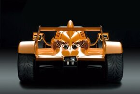 A rear view of the Caparo T1 highlighting the wings used to create road-hugging downforce.