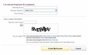 Yahoo uses alphanumeric strings rather than words as CAPTCHAs when you sign up for a Yahoo! account.
