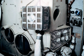 """Interior view of the Apollo 13 Lunar Module during the trouble-plagued journey back to Earth -- the """"mail box"""" pictured here was used for purging carbon dioxide. See more space exploration pictures."""