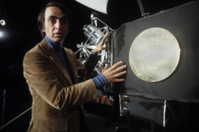 Carl Sagan gives his views during a press conference about the Voyager Golden Records, which were included aboard both Voyager spacecrafts.