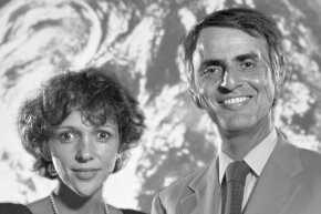 Carl Sagan and his wife author Ann Druyan pose in the Turnbull Conference Center on the campus of Florida State University in Tallahassee, Fla. in 1984.