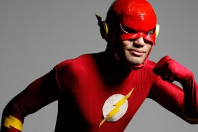 OK, OK, this cosplayer can't shift through matter, but the animated Flash could.