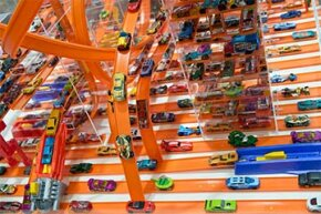 A Hot Wheels car racetrack is displayed at the 65th International Toy Fair in Nuremberg, Germany, in 2014.