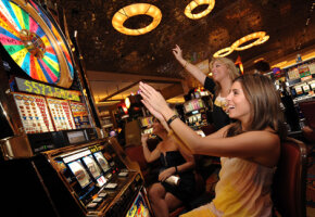 Casino Image Gallery Girls playing slots at a casino in Vegas. See more casino pictures.
