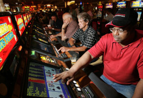 Players play video poker in a casino. See more casino pictures.