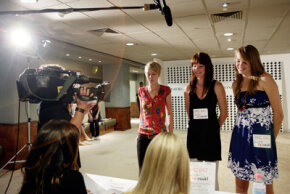 Casting directors interviewing actresses at an audition. See more movie making pictures.