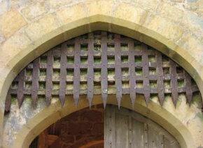 The portcullis on Bodiam Castle in England