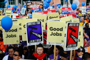 Workers march in support of rights for union members in Los Angeles on March 26, 2011. See more protesting pictures.