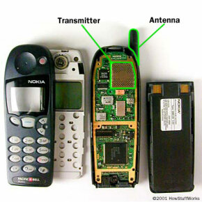 Radiation in cell phones is generated in the transmitter and emitted through the antenna.