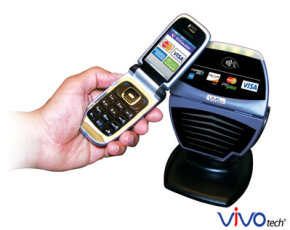 To pay using a cellular phone, users just point it at a card reader.