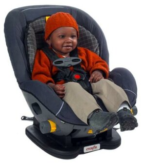 The safest place for your child is in a properly fitted child car seat. The seat pictured here is an Evenflo Triumph with LATCH system; featuring a 5-point harness.