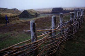 At L'Anse aux meadows in Newfoundland, Canada, a Viking settlement discovered there in 1961 has been reconstructed to its former state.