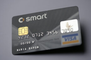 A German credit card displays a computer chip rather than a magnetic stripe. Chip and PIN cards like this will become the norm in the U.S.A.