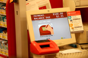 A typical credit card reader at Target stores gives the customer the option of entering a PIN number or signing. With the massive credit card breach Target experienced, it has switched to Chip and PIN store cards.