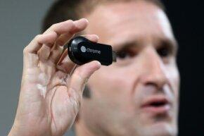 The Chromecast isn't a box -- it's tiny, the size of a USB thumb drive.